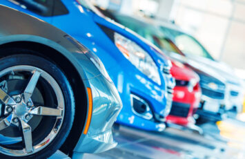 Brand New Cars For Sale in Dealer Showroom. Car Business.